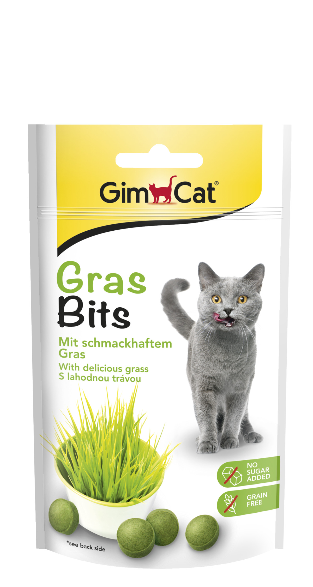 GIMCAT GRAS BITS tabl. s kocici travou 40g